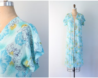 vintage 60s sheer & lightweight duster jacket - summer robe / Mermaid Blue - aqua floral print bed jacket / Sweet Kawaii - fairy kei