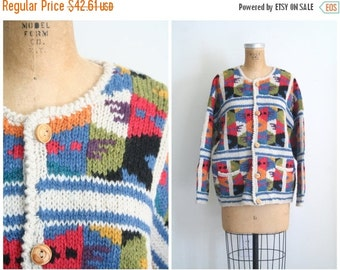 SALE / vintage hand knit wool patchwork cardigan sweater / Preppy - Aztec design - Southwestern style sweater / vintage 80s cardigan