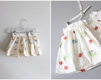 vintage 1950s seashell print skirt - 50s toddler skirt with tulle underskirt / beach display - print design study / ocean shell print