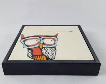 Owl tile (with frame)