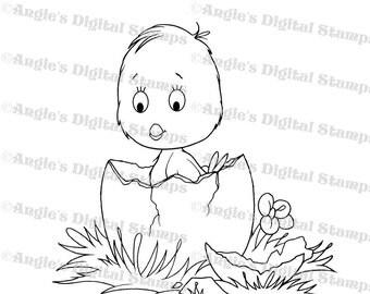 Chick Hatching Digital Stamp Image