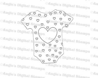 Heart Baby Onesie Digital Stamp Image