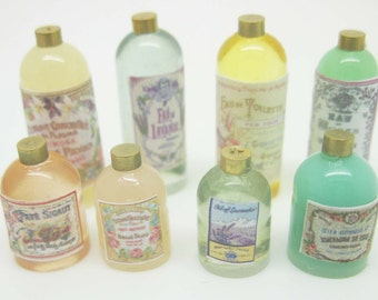 Miniature dollhouse multicolor kit eight bottles for perfumes and bath