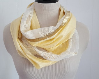 Cotton circle scarf, Infinity scarf, Yellow light scarf, Lace Infinity Scarf, Spring scarf