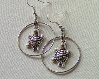 Earrings, Turtle Hoop Drop Earrings, Turtle Earrings