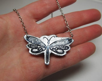 Dragonfly Necklace in Silver Color on silver tone chain