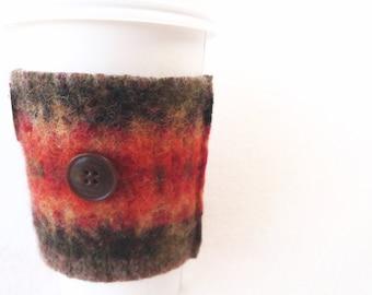 Coffee Cozy PUMPKIN SPICE Fair Isle Coffee Cosy / Coffee Sleeve Felted Sweater Wool by WormeWoole