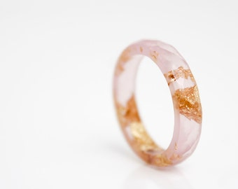 gift for her - honeysuckle pink size 8   thin multifaceted eco resin ring with gold leaf flakes