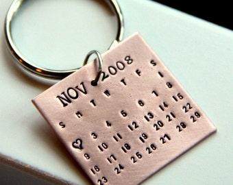 Calendar Keychain - Valetines Day Gift -7th Anniversary Gift - Calendar Keychain - Wedding Gift - Newly Engaged - Engagement Gift - Calendar