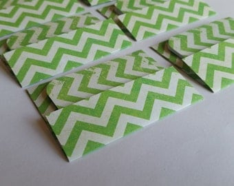SALE Mini Cards n Envelopes - Set of 6 - Bright Grass Green with Chevron Striped Designs