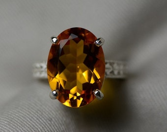 Citrine Ring, 10.25 Carat Citrine Solitaire Ring Appraised at 600.00, Sterling Silver Natural Citrine Jewelry, November Birthstone,