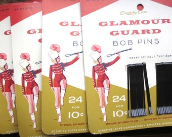 Vtg NOS deadstock MIP Glamour Guard bobby pins / midcentury 1956 / Scoldy Lox / graphics typography / original packaging