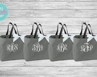 Bridesmaid Totes , Bridesmaid Gifts, Bridal Party Totes, Charcoal Totes, Gray Totes, Bridal Party Gift, Bridesmaid Tote Bag,
