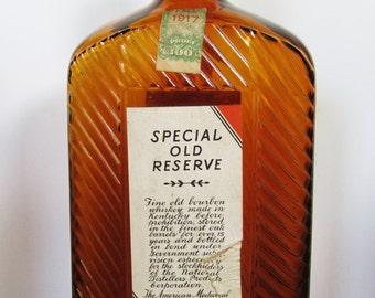 "Antique Prohibition ""Special Old Reserve"" Bourbon Whiskey Prescription Bottle Prescription Pharmacy Kentucky Distillery Speakeasy Bar"