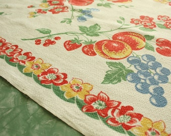1940's Vintage Kitchen Toweling Fabric Fruit and Flowers