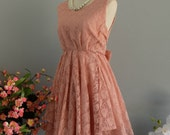 Pink dress pink lace dress pink nude party dress pink prom dress pink cocktail dress backless dress lace party dress pink bridesmaid dresses