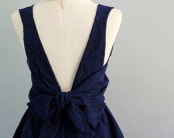 Navy dress navy lace dress navy prom dress cocktail wedding dress lace backless navy bridesmaid dress navy party dress