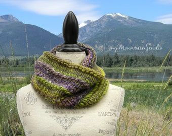 Beautiful Hand Knit Cowl in Purple and Green with Sparkle - Brio