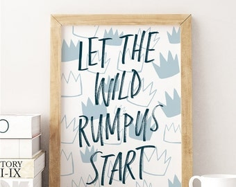 Wall Art Let the Wild Rumpus Start Handlettered Kids Print Blue