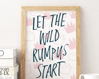 Wall Art Let the Wild Rumpus Start Handlettered Kids Print Pink