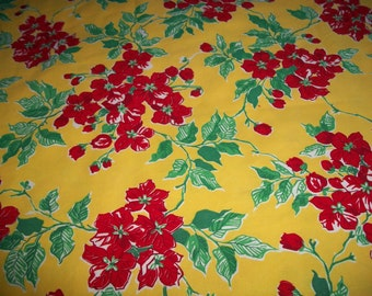 Vintage Feedsack, Floral, Yellow and Red