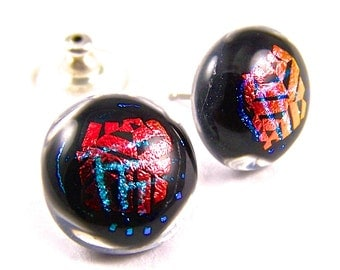 """Dichroic Hologram Earrings Red Orange Copper Teal Blue Dicro Round - Patterned Layered Clear Post or Clip-Ons - 1/2"""" 12mm - Pumpkin Aqua"""