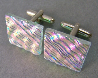 "Dichroic Cuff Links - Clear Pink Opal Magenta Rose Wavy Ripple Textured - Diamonds & Ice Fused Glass  - 3/4"" 20mm Square - Green Transmitted"