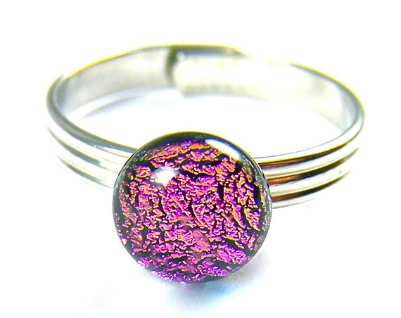 "Ring Tiny Adjustable Dichroic Glass - 1/4""  8mm - Magenta Pink Fuchsia Round Dot - Silver Plated Glass Ring"