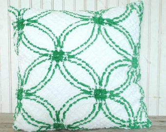 """Green and white chenille pillow / floor cushion - 20x20"""""""