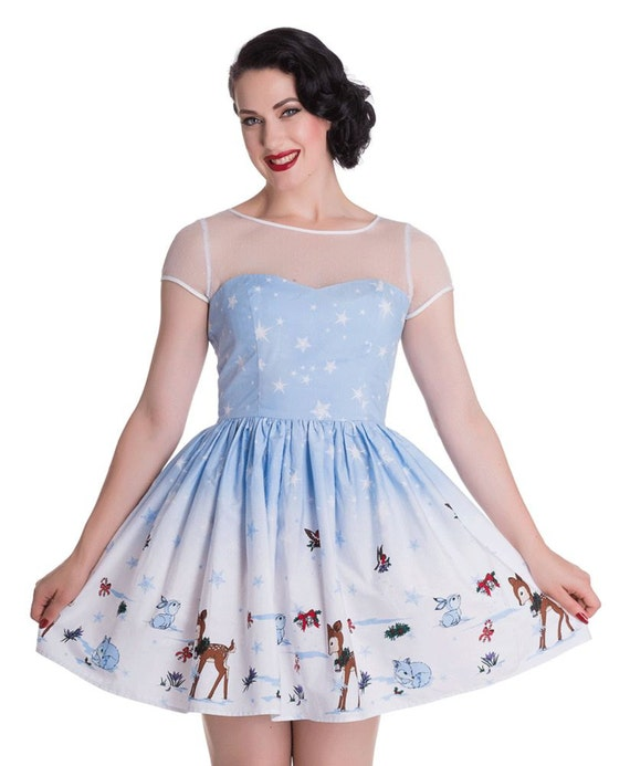 New cute retro style blue bambi christmas dress festive 50s style