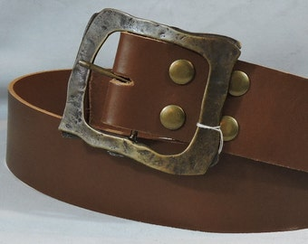 Customizable 2.25 inch, Brown or Black, Plain Leather Kilt or Pirate Belt