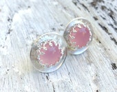 Pink Topaz Sterling Silver earrings, gemstone stud earrings, october birthstone stud earrings, crown studs, victorian earrings