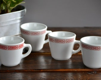 Four Cathay Restaurant Ware Mugs / Red on White