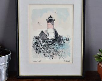 Nauset Light N.E. Kennedy Framed Lithograph Lighthouse Pen Drawing