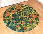 Reserved for Mary. Hand Made Felted Wool Rug in shades of green. Size round 60 inches (152 cm) diameter. Ready to ship.