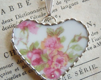 Fiona & The Fig-Antique-Victorian-Hand Painted-French Limoges-Broken China-Soldered Necklace - Pendant-Charm
