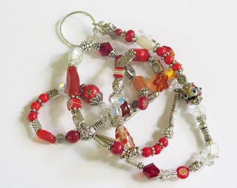 Eye Glass Holder Necklace - Colorful Glass Beads Silvertone Metal Findings and Silvertone Accent Beads -  Red & Orange Glass Beads