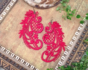 red lace earrings -GRETCHEN- cherry red - lace jewelry - lace earrings