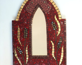 Mosaic Mirror, Red and Gold Mirror