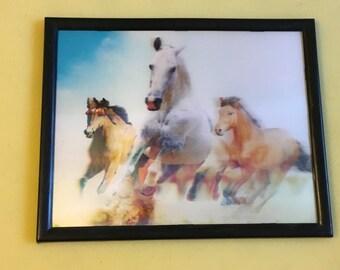 Vintage 80's Hologram Framed Running Horses Picture