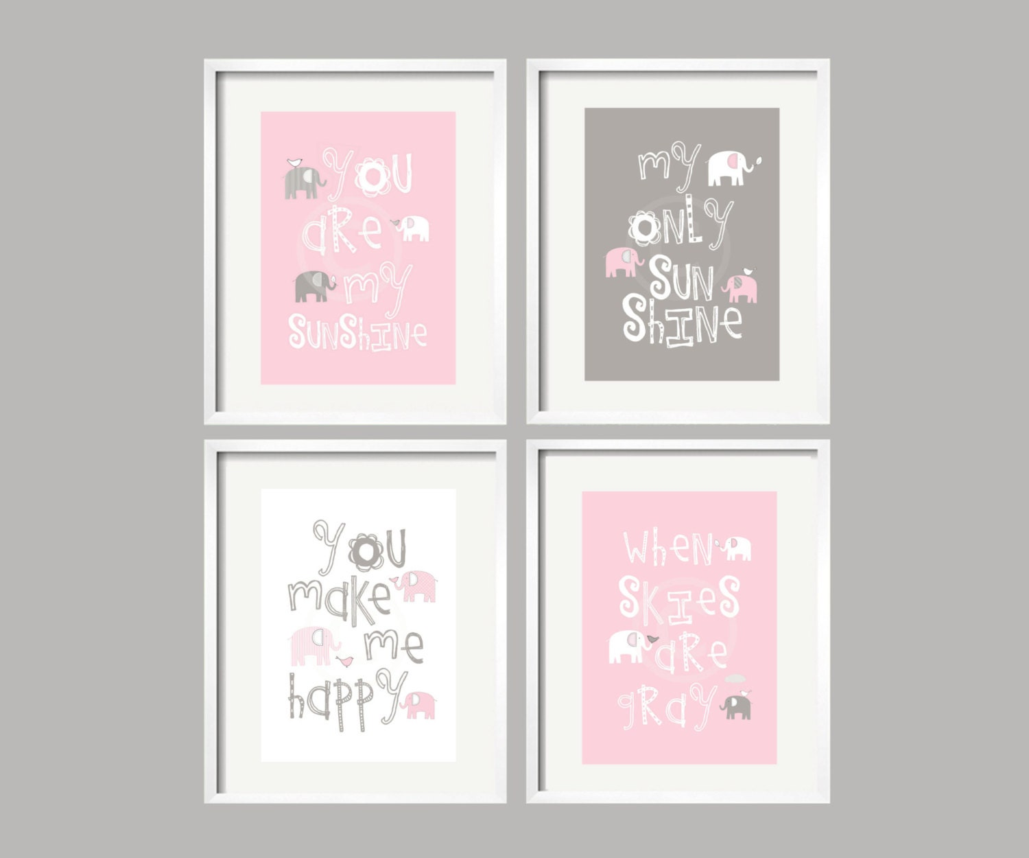 Elephant Art You Are My Sunshine Pink Grey Baby Girl Elephant - Pink and grey nursery decor