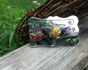 Chambers Belt Co. Silver Belt Buckle Cowboy Bucking Tipping Hat Belt Buckle Made in USA