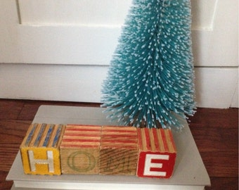Wooden HOME block Letters  Vintage block toy repurposed