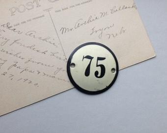 Metal vintage tag 75  repurpose