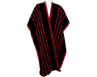 Vintage Long Serape Cape, Southwestern, Graphic Red and Black, Vintage 1960s