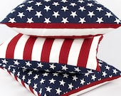 "American Flag Reversible Pillow Cover (20x20"") Patriotic Pillow, July 4th Decor, Stars and Stripes Pillow, Red White and Blue"