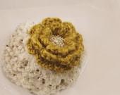 Mustard crochet flower pin, earth tones, Hand Crochet Brooch with Czech beads Gift under 15, Yellow, Green, White
