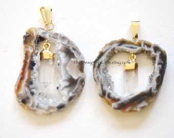Black and White Geode Raw Druzy Pendant with Crystal Drop, Gold Bail and Gold Dipped Crystal Pendant