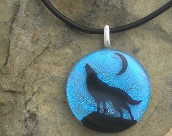 Wolf Necklace Dichroic Fused Glass Jewelry Wolf Pendant