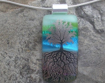 Tree of Life Dichroic Fused Glass Tree Roots Pendant